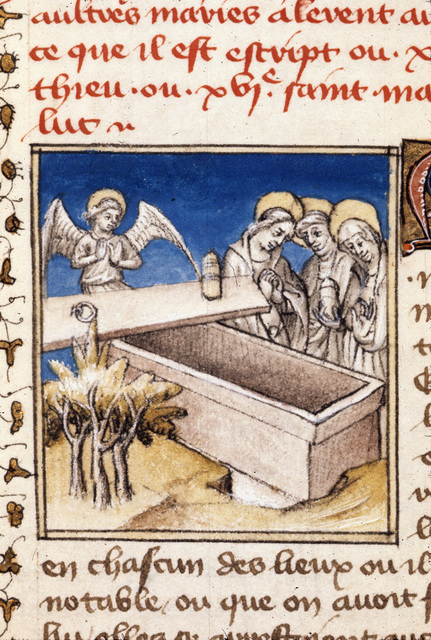 The Maries at the tomb from BL Royal 20 B IV, f. 142