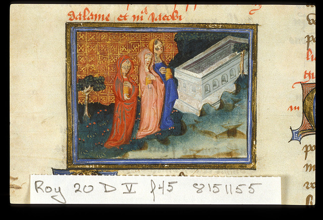 The Maries at the Tomb from BL Royal 20 D V, f. 45
