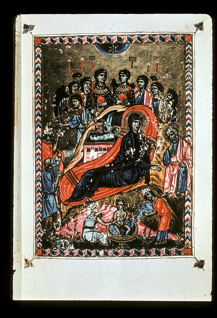 The Nativity from BL Eg 1139, f. 2