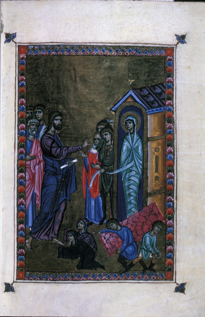 The Raising of Lazarus from BL Eg 1139, f. 5