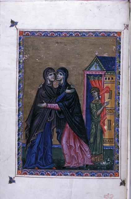 The Visitation from BL Eg 1139, f. 1v