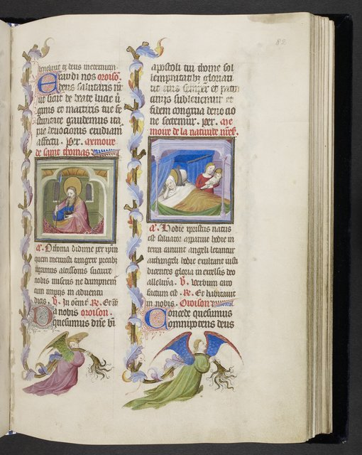 Thomas and the Birth of the Virgin from BL Eg 1070, f. 82