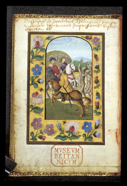 Three Living and Three Dead from BL Harley 2953, f. 19v