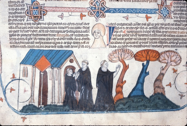 Three monks from BL Royal 10 E IV, f. 281v