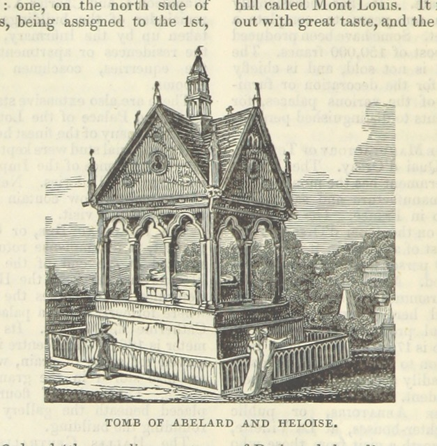 "tomb of Peter Abelard and Héloïse d'Argenteuil from ""[Appleton's European Guide Book illustrated. Including England, Scotland, and Ireland, France, Belgium, Holland, Northern and Southern Germany, Switzerland, Italy, Spain and Portugal, Russia, Denmark, Norway, and Sweden. Containing ... maps, etc.]"""