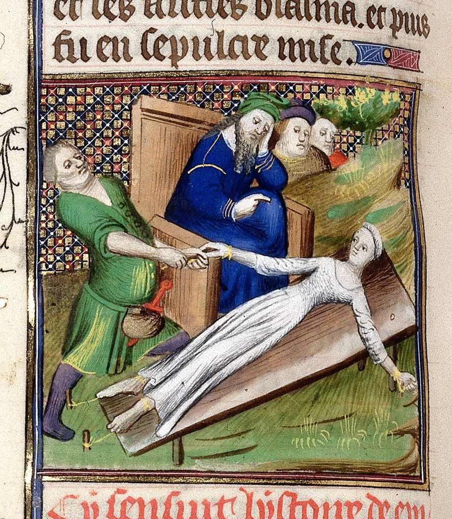 Torture of Epicharis from BL Royal 20 C V, f. 141v