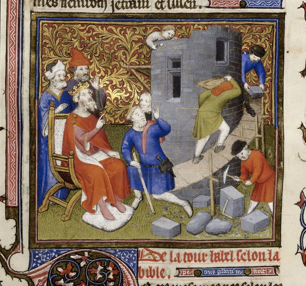 Tower of Babel from BL Royal 15 D III, f. 15v
