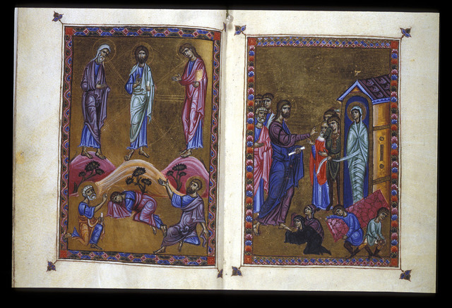 Transfiguration and Lazarus from BL Eg 1139, f. 4v-5