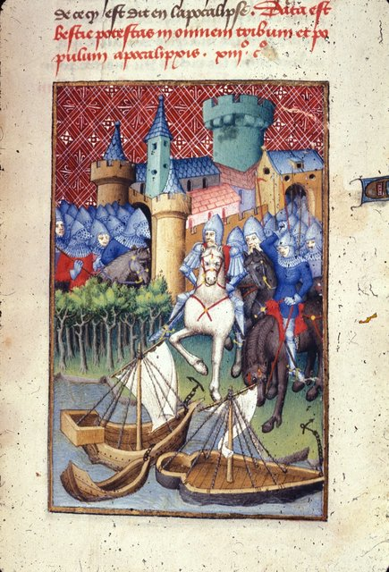 Trojan army from BL Harley 4431, f. 125
