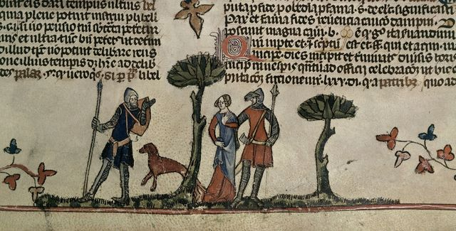 Two knights, a lady, and a hound from BL Royal 10 E IV, f. 102