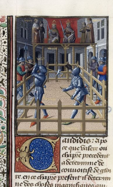 Two knights battling from BL Harley 4375, f. 171v