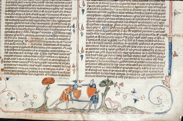 Two knights fighting over a hound from BL Royal 10 E IV, f. 105