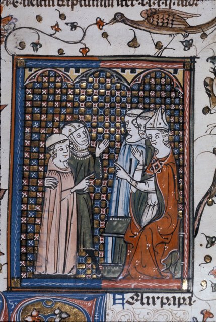 Two men before a bishop from BL Royal 10 E IV, f. 251