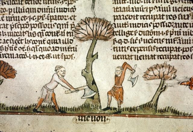 Two men chopping down a tree from BL Royal 10 E IV, f. 100v