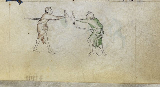 Two men fighting from BL Royal 2 B VII, f. 147