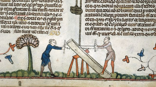 Two men sawing a plank from BL Royal 10 E IV, f. 99v