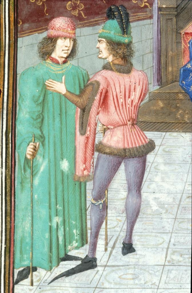 Two men talking from BL Royal 15 E IV, f. 14