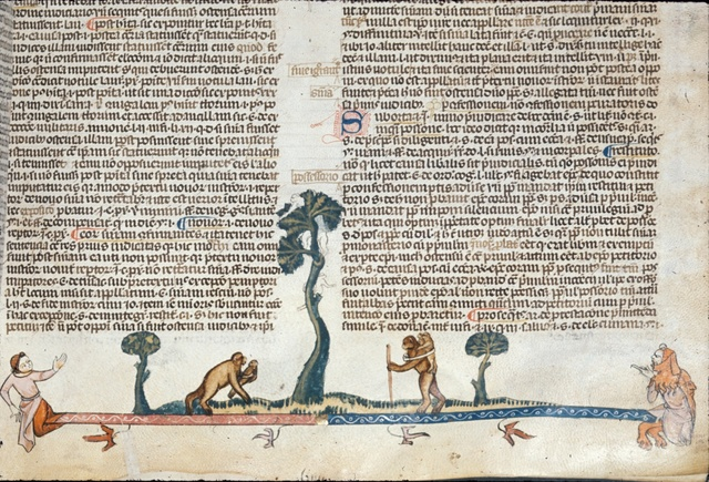 Two monkeys from BL Royal 10 E IV, f. 152