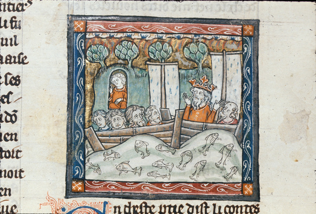 Two ships full of heathen knights from BL Royal 14 E III, f. 52v