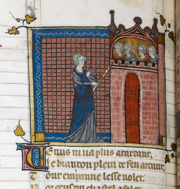 Venus setting fire to the castle from BL Royal 19 B XIII, f. 141v