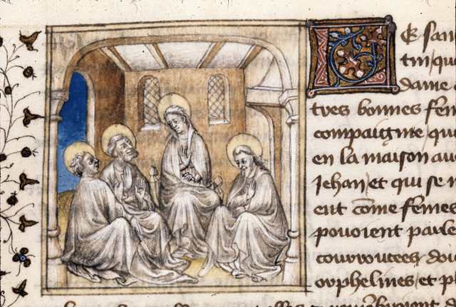 Virgin and Apostles mourning from BL Royal 20 B IV, f. 135v