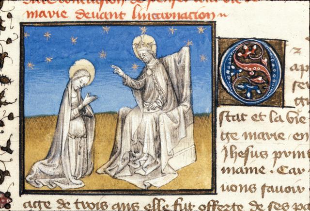 Virgin kneeling from BL Royal 20 B IV, f. 9v