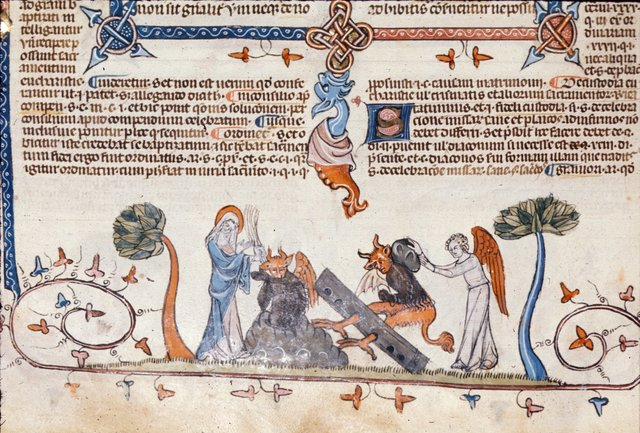 Virgin Mary and angels punishing devils from BL Royal 10 E IV, f. 225v
