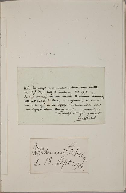 Visitekaartje / van Waldemar Lütschg (1877-1948), pianist en muziekdocent, in het autografenalbum van Rudolf Hugo Driessen (1873-1946) en Caroline Driessen-Kleyn (1883-1938)