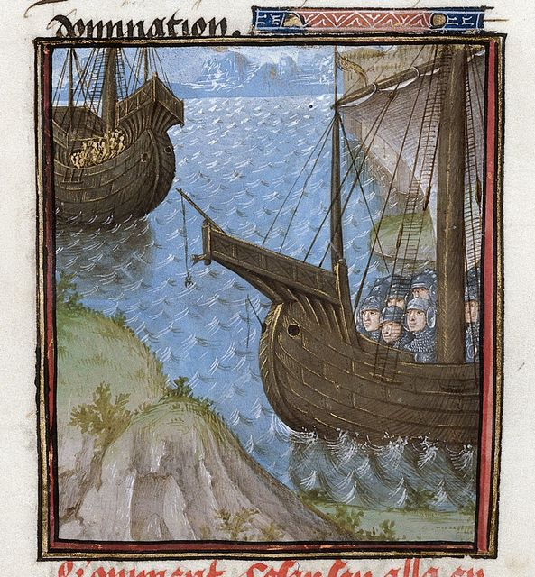Voyage to Rhodes from BL Royal 16 G VIII, f. 35