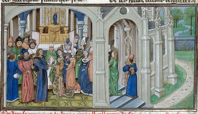 Waleran and Maud from BL Royal 14 E IV, f. 39