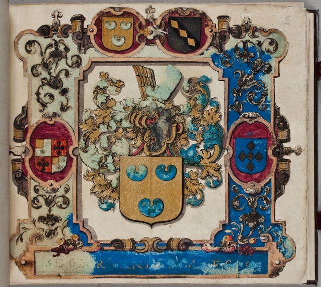 Wapen van Seger [Quirijnsz.] van der Maes (-1640), met vier kwartieren / in zijn eigen album
