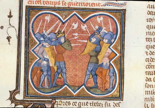War between Athens and Crete from BL Royal 16 G VII, f. 67v