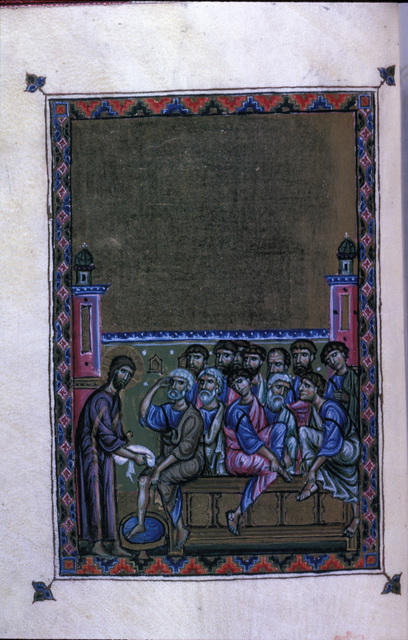 Washing of the Disciples' Feet from BL Eg 1139, f. 6v