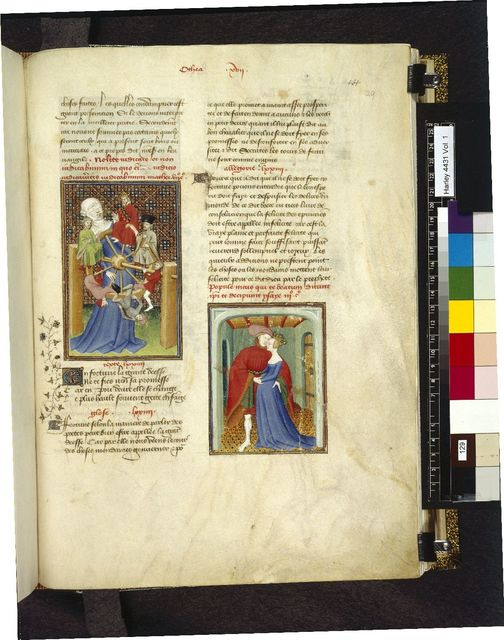 Wheel of Fortune; Paris and Helen from BL Harley 4431, f. 129
