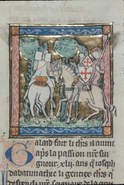 White Knight and Sir Galahad from BL Royal 14 E III, f. 94v