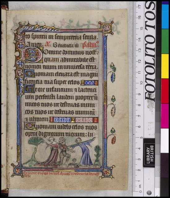 Wildman ('wodewose'), lady and man (the knight Eneas) from BL YT 13, f. 63