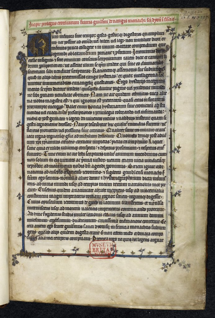 William of Nangis from BL Royal 13 E IV, f. 1