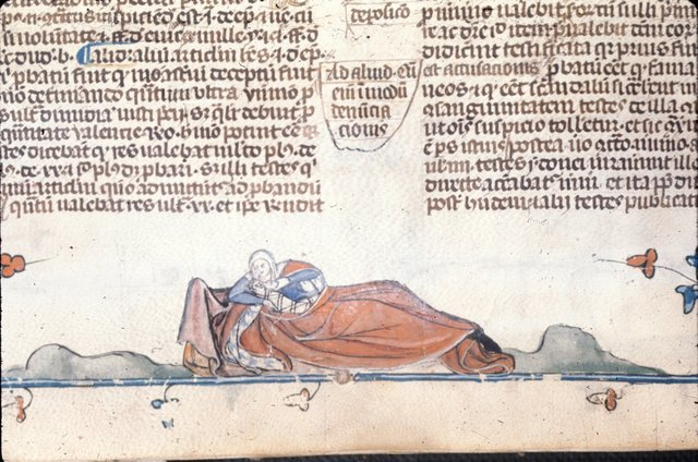 Woman and infant from BL Royal 10 E IV, f. 127v