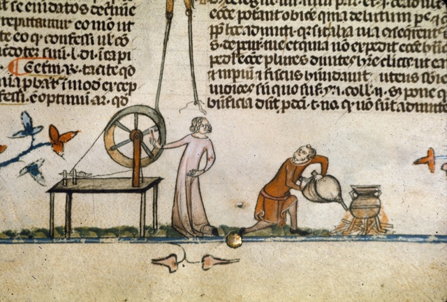 Woman with spinning wheel from BL Royal 10 E IV, f. 142