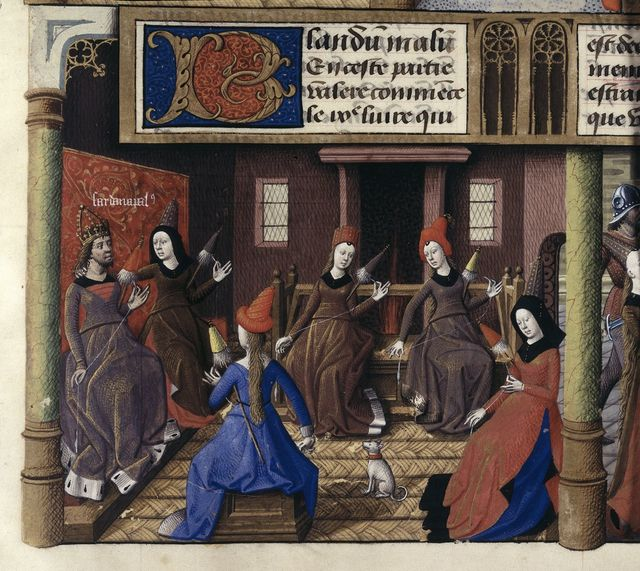 Women spinning from BL Harley 4375, f. 179