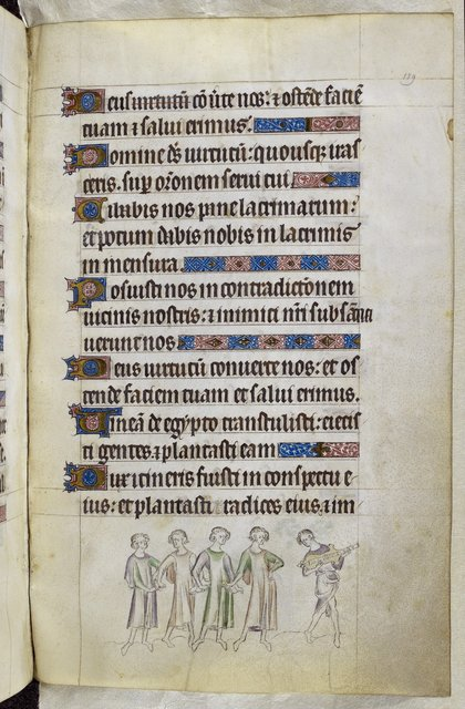 Youths and musician from BL Royal 2 B VII, f. 189