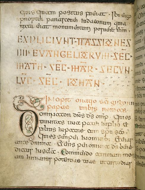 Zoomorphic initial from BL Harley 2965, f. 16v