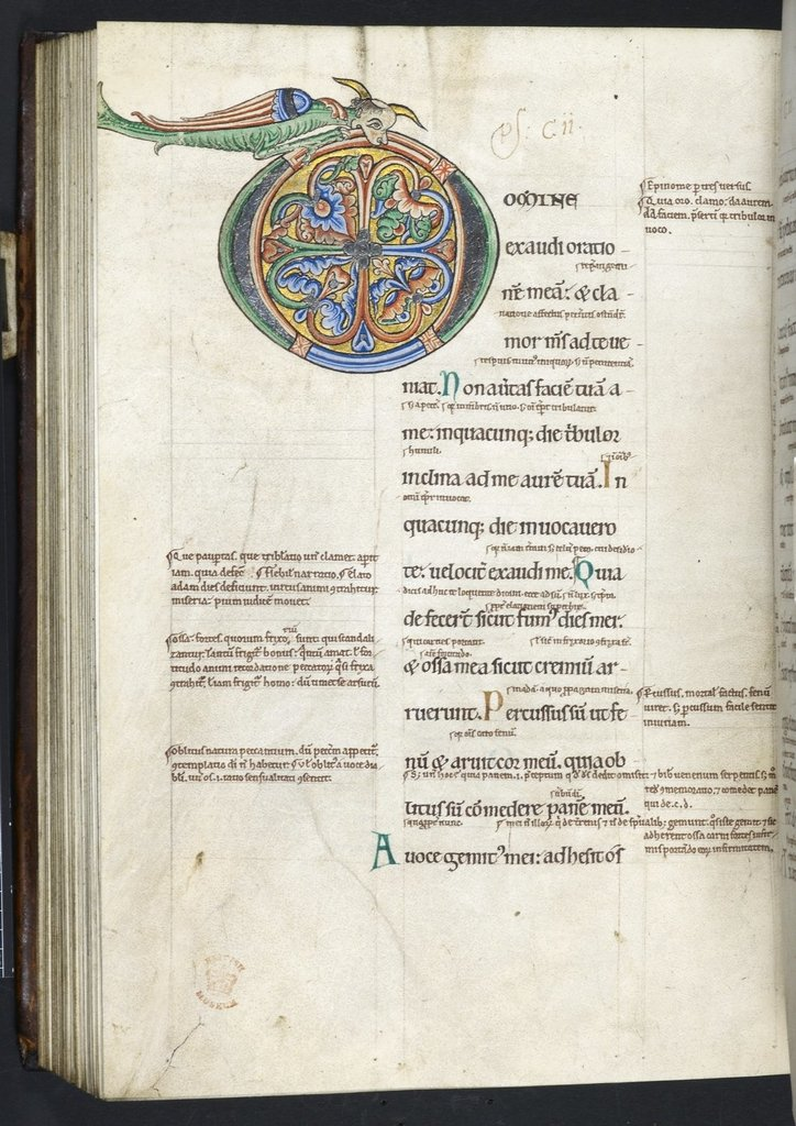 Zoomorphic initial from BL Harley 628, f. 160v