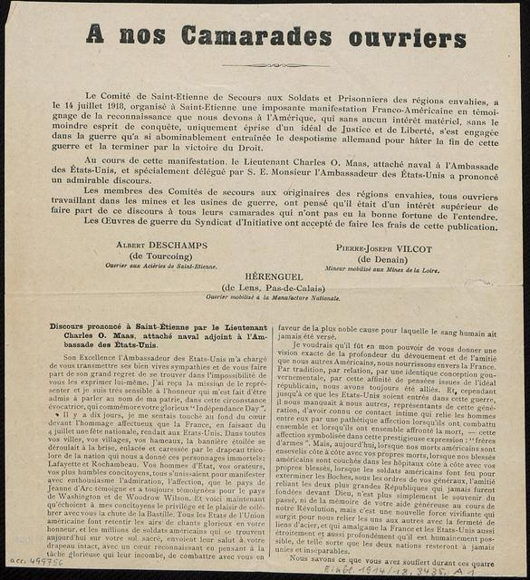 A nos Camarades ouvriers Le Comité de Saint-Etienne de Secours aux Soldats et Prisonniers des régions envahies ..