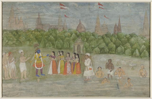 Aan de oever van de Yamuna te Brindaban danst Krishna met de Gopis
