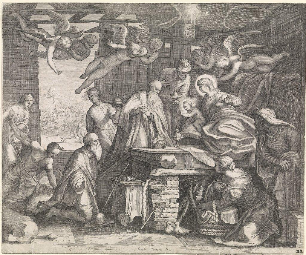 Aanbidding der koningen met engelen