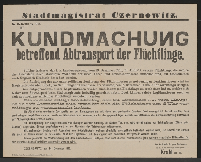Abtransport der Flüchtlinge - Kundmachung - Czernowitz
