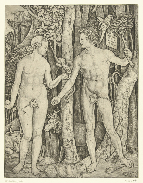 Adam en Eva bij boom van kennis van goed en kwaad in paradijs tijdens zondeval