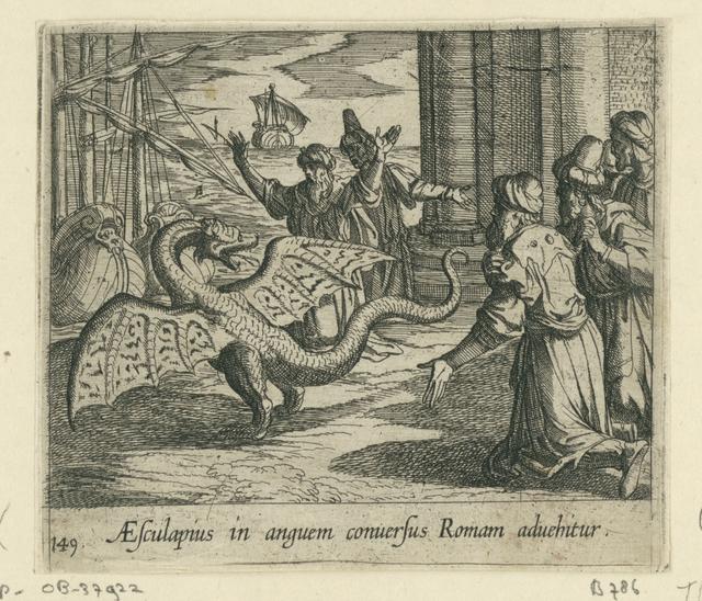 Aesculapius als een draak tussen de Romeinen