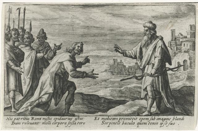 Aesculapius ontvangt senatoren uit Rome